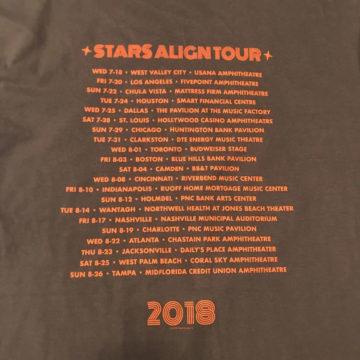 Stars Align Tour 2018 T-shirt Back