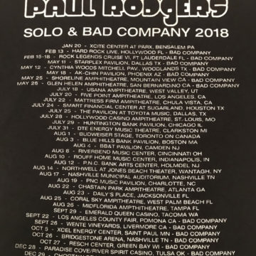 Paul Rodgers Bad Company 2018 Tour Dates Tshirt Back