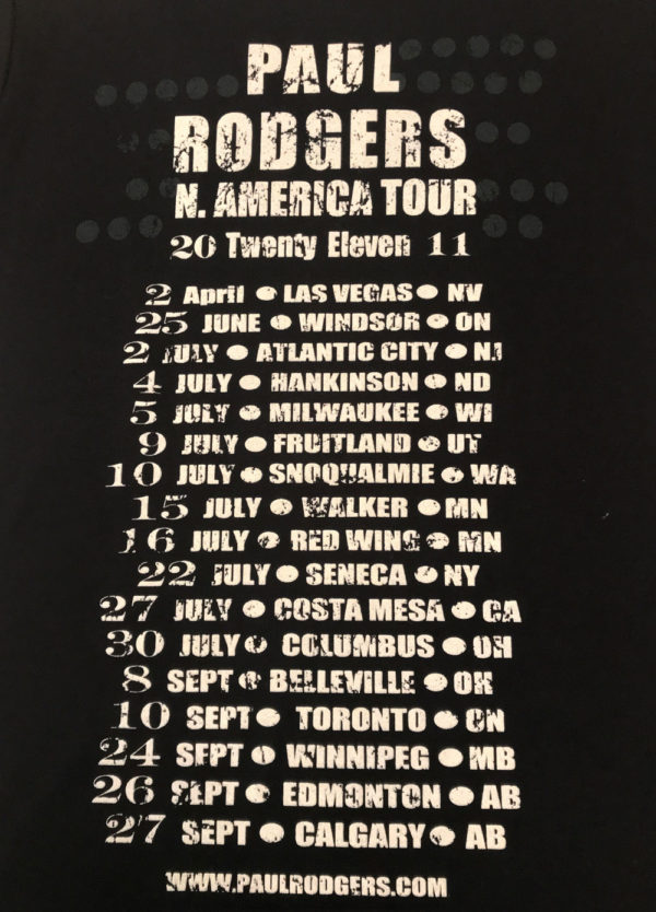 Paul Rodgers N American 2011 Tour T-shirt Back